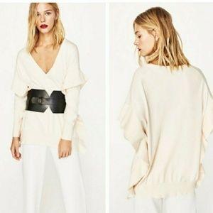 Zara Knit Ruffle Sweater Sz S